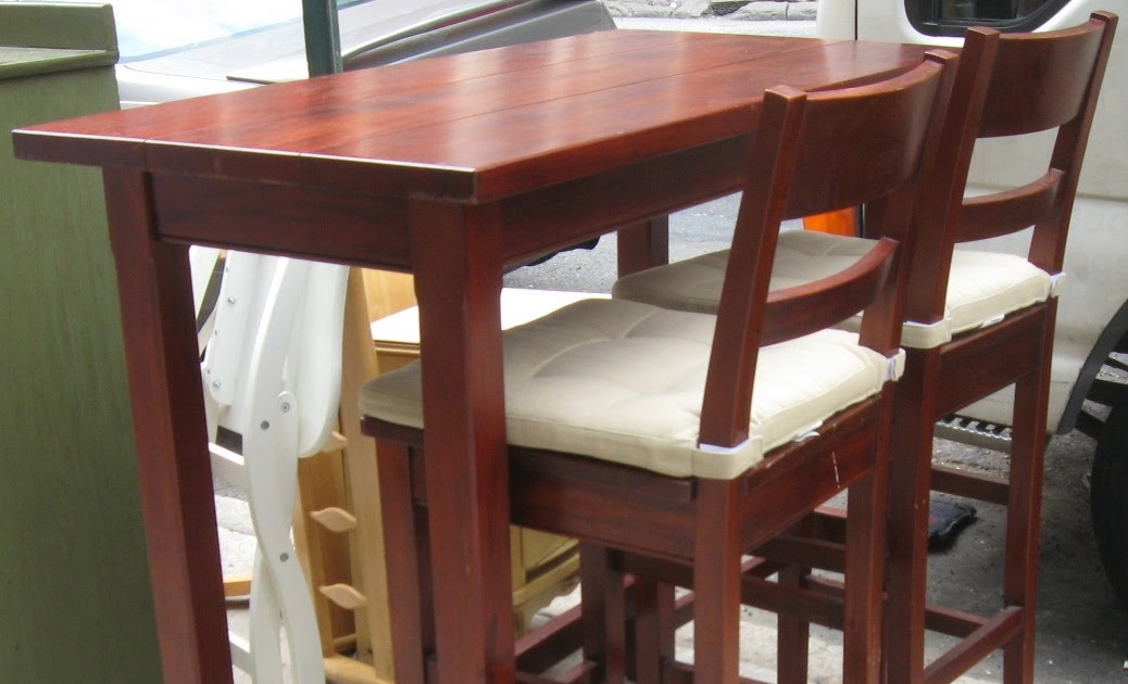 Uhuru Furniture Collectibles Crate And Barrel Bar Table W Two Bars Stools Sold