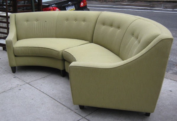 Uhuru furniture collectibles beautiful curved green two for Two piece curved sectional sofa