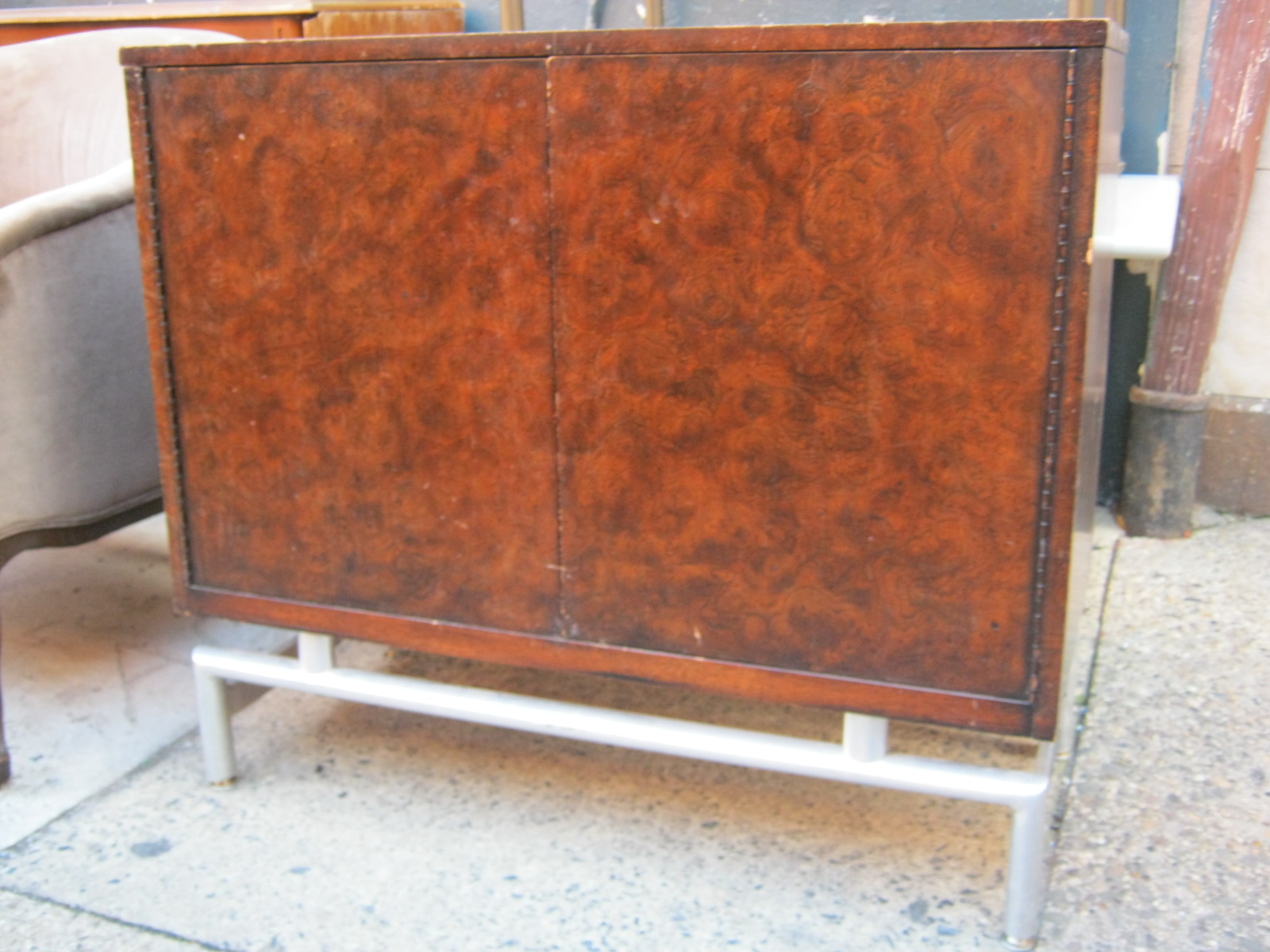 Retro Burl Wood Cabinet With Chrome Base SOLD