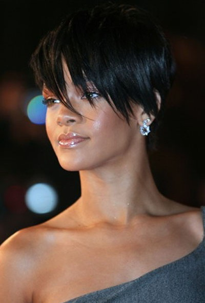 rihanna short hairstyles with bangs. Rihanna Short Bob Hairstyle
