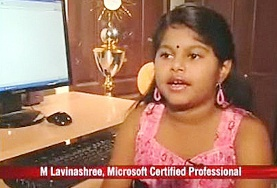 World's Youngest Microsoft Certified Professional 2011, M.Lavinashree photo, M.Lavinashree picture, M. Lavinashree Prometric Examination, M.Lavinashree Guinness World Records 2011, world's youngest Microsoft Certified Engineer, World's Youngest Microsoft Certified Madurai girls