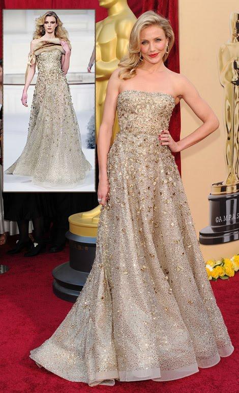 New Fashion Style Cameron Diaz In Oscar De La Renta Dress For The 2010 Oscars