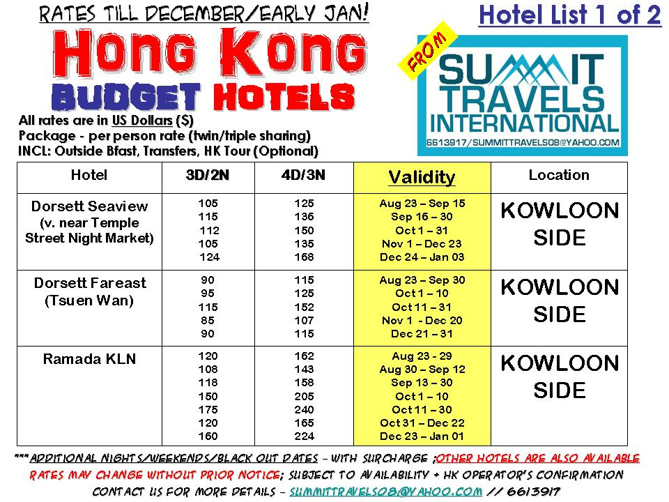 Cheap Travel Package Hong Kong Budget Hotels Till Dec