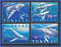 Tokelau Islands stamps featuring whales circa 1970s
