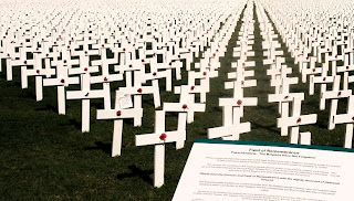 the 5000 crosses erected for the display - sobering image