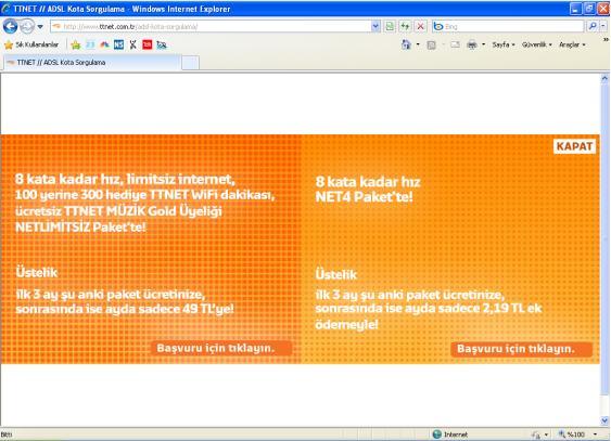 TTNET kota sorgulama sayfasındaki reklam