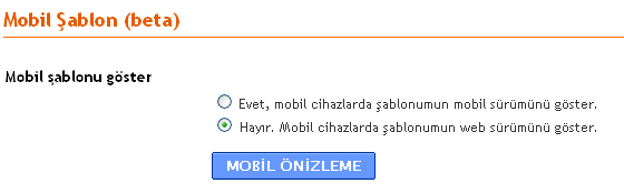Blogger mobil şablon