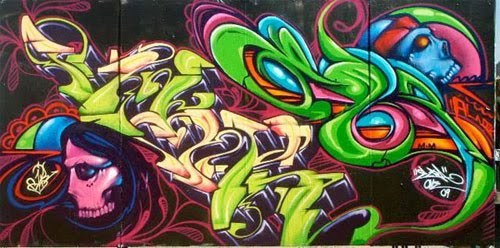 Skull Mural Graffiti by Vik