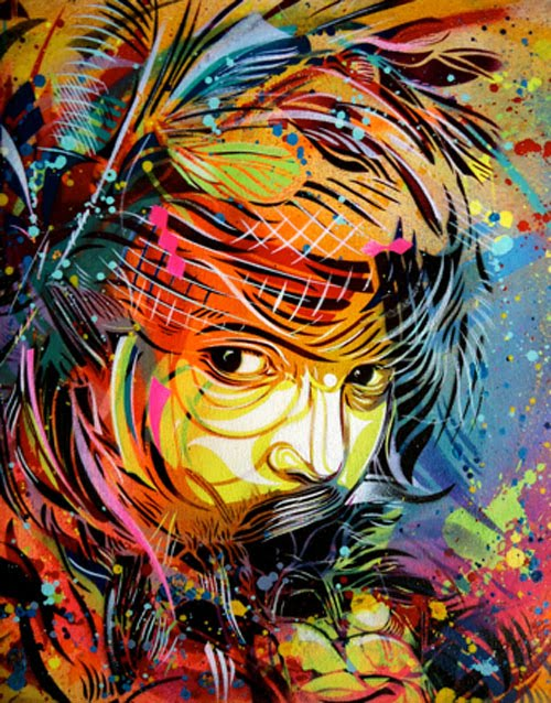 Sound of silence graffiti spray paint on canvas for Wall spray painting designs