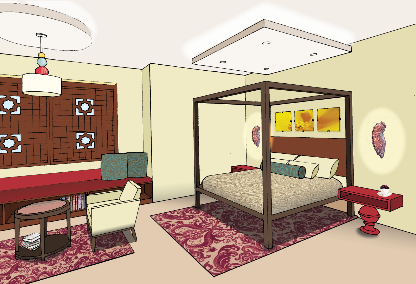 the gallery for one point perspective drawing of a bedroom