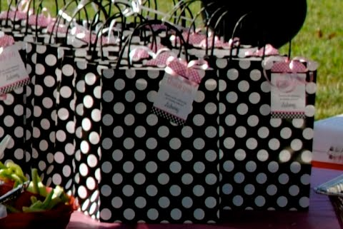 Katie 39 s black and pink dots party polka dot birthday for Black and white polka dot decorations