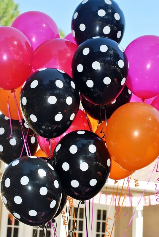 Polka Dot Birthday Supplies, Decor, Clothing: Orange, Pink, and