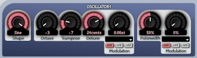 Aspect settings for kick drum oscillator