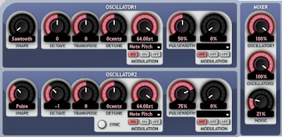 Oscillator settings for Roygbiv bass
