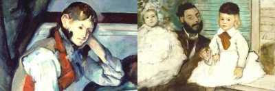 Paul Cezanne - Boy in a Red Waistcoat (1888) and Degas - Count Lepic and his Daughters (1871)