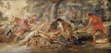 Peter Paul Rubens - oil sketch of The Hunt of Meleager and Atalanta (1630s)