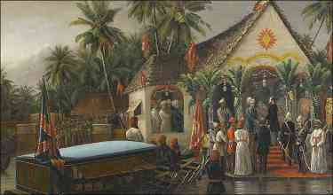Raja Ravi Varma - The Maharaja of Travancore welcomes Richard Temple-Grenville (1880)