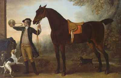 John Wootton - Life-size Horse with Huntsman Blowing a Horn (ca 1732)