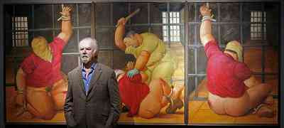 Fernando Botero and three of his paintings (2008)