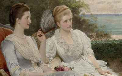 Charles Edward Perugini - The Countess Granville with her daughters, the Ladies Victoria and Mary Leveson-Gower, on the ramparts of Walmer Castle (detail)