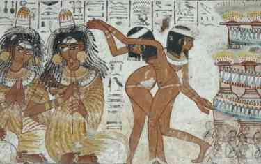 Egyptian Dancing Girls: Detail of Wall Painting from Nebamun's Tomb-chapel (ca 1350 BC)