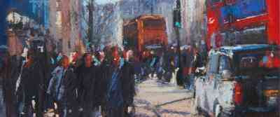 Roger Dellar PS - Buses and Taxis by Charing Cross Station