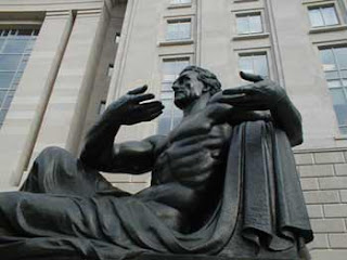 Male sculpture by Reagan building