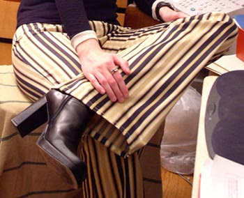 MS seated, boot heel and pants