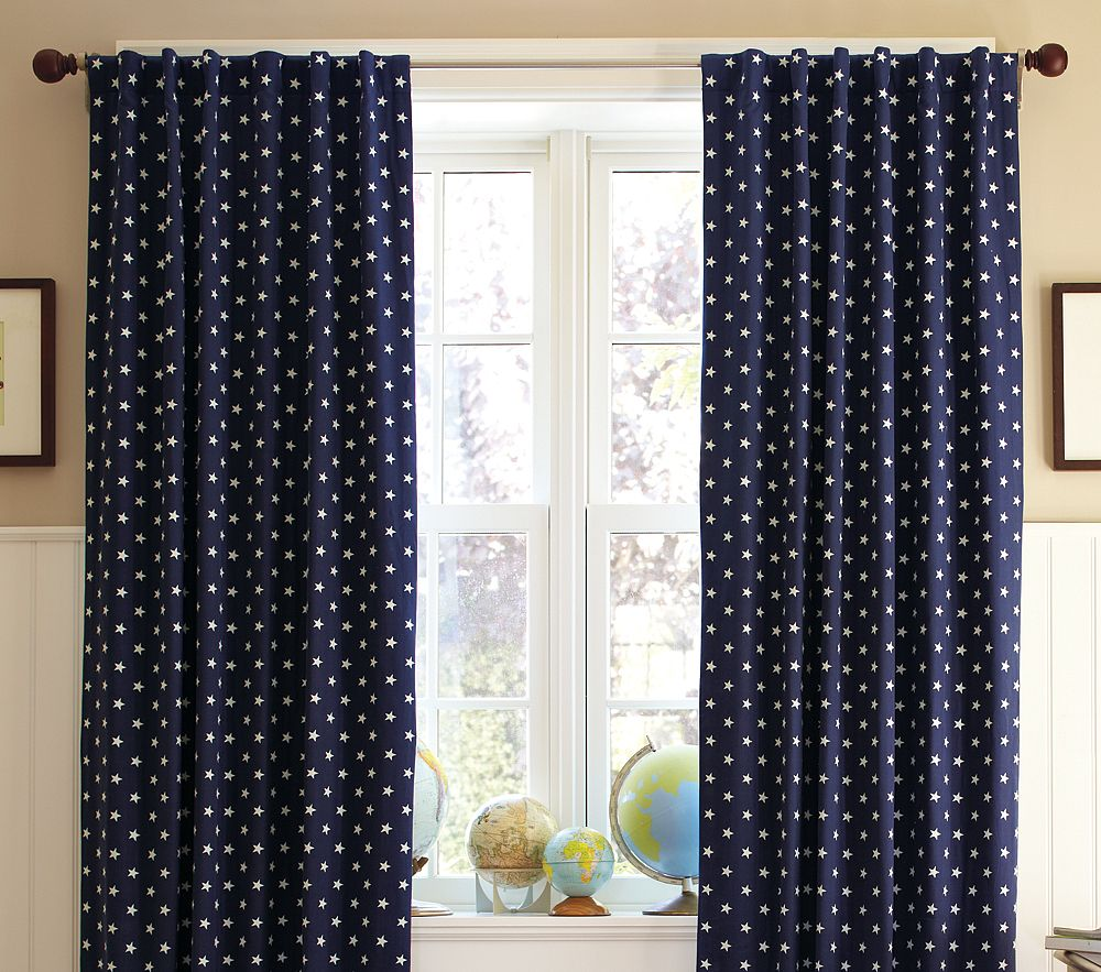 Navy and white patterned curtains viewing gallery - Curtains for boy toddler room ...