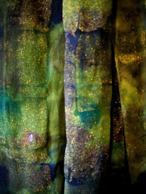 Silk chiffon scarf, dyed and painted