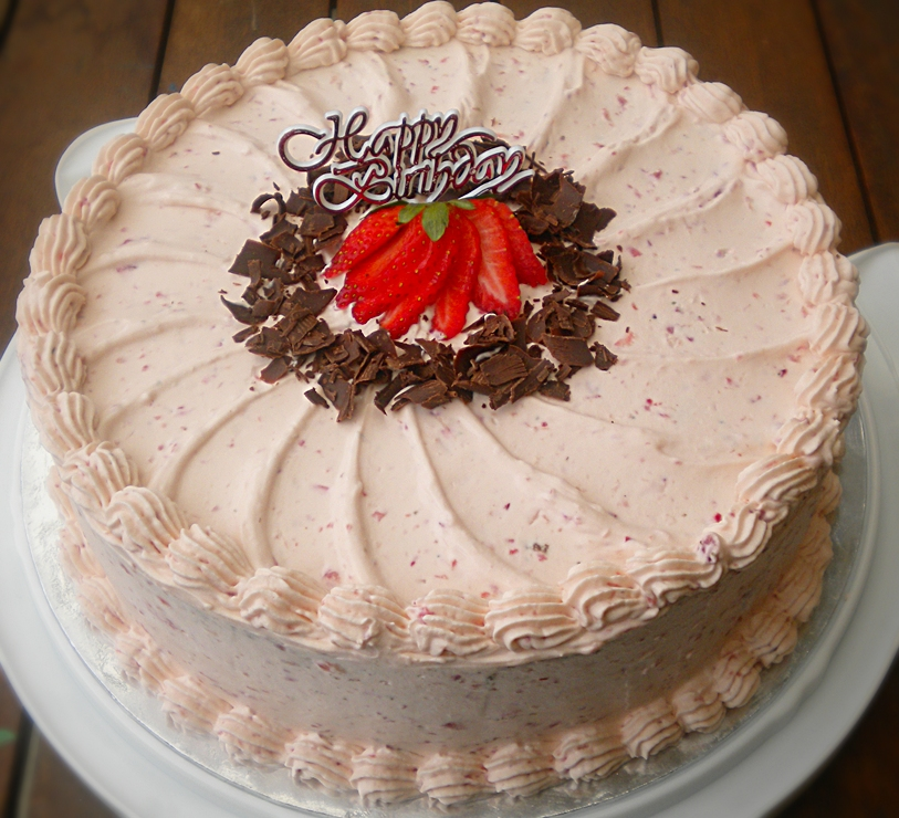 Chocolate chiffon with Strawberry Whipped Cream Frosting and Filling