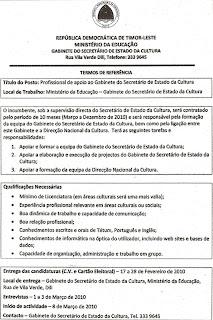 Serbisu Iha Timor-Leste / Jobs in Timor-Leste: Ministerio Da Educasaun