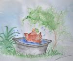 Höna i badet