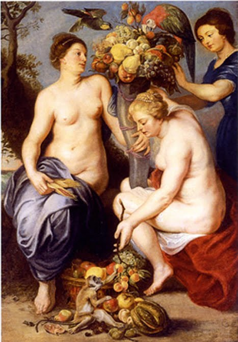 Nymphs Filling The Horn of Plenty, oil on canvas, circa 1617, Sir Peter Paul Rubens, 1577-1640.