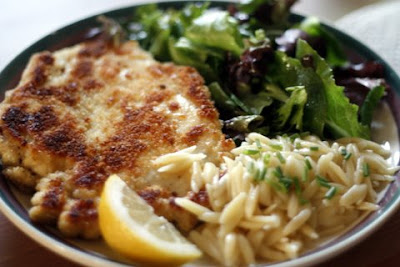 Above an Italian Restaurant: Chicken Milanese with Spring Greens