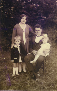 Anna-Marie aka Mamie L'Autre, Jean Seguin aka Pepere, with my grand-aunt Janine and grandpa Jacques, aka Papi Nono. Photo taken in 1930.