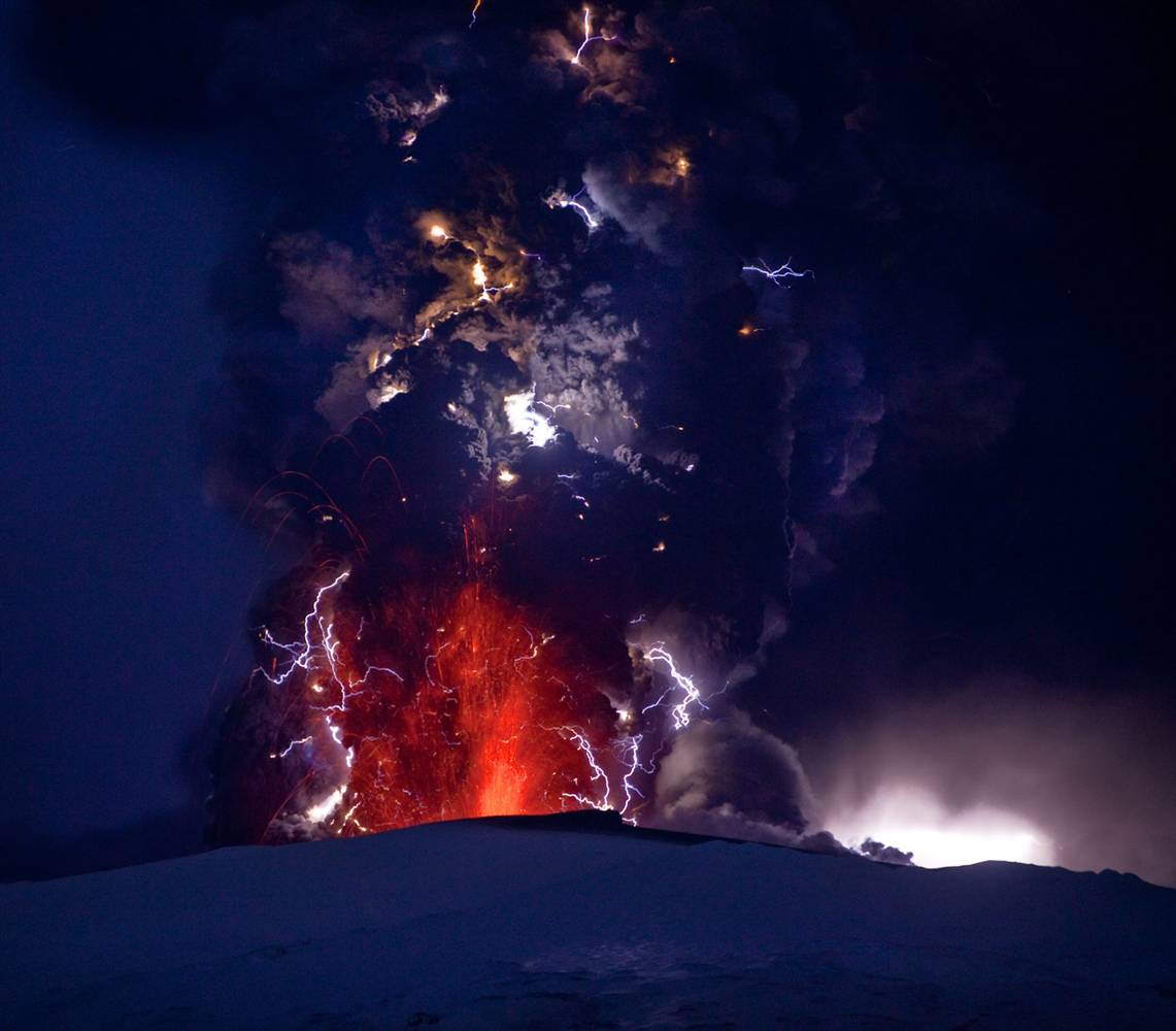 chilean volcano and thunderstorm photo