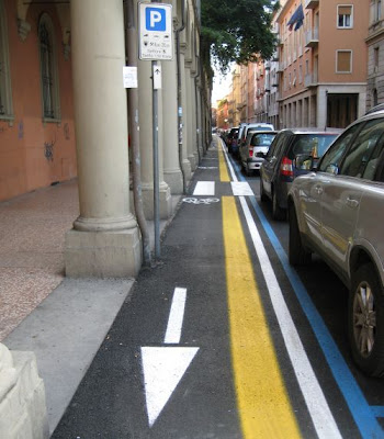 Bike Lane and Cyclists in Bologna, Italy