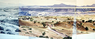 "Painting, La Bajada Mesa, by David Outhwaite, AC/CANVAS, 45"" x 110"", © 1983"