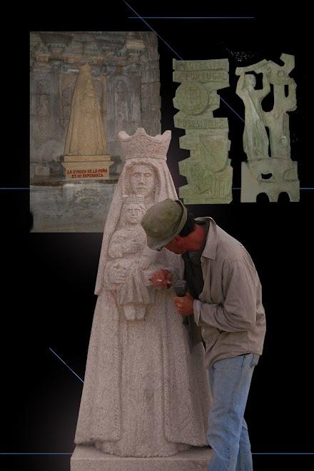 Escultura em granito com aplicativos em cimento