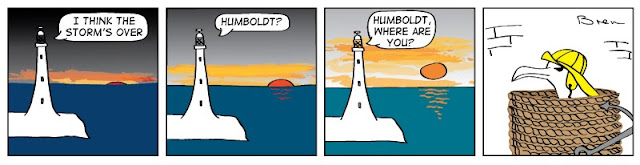 cartoon,lighthouse cartoon,gag cartoon,funny,cartoon strip,carton strip,comic strip,Humboldt,albatross,lighthouse,lighthouse keeper,sea,marine,bird,storm,sunrise,hide,rope,coil,discretion is the better part of valor,valour