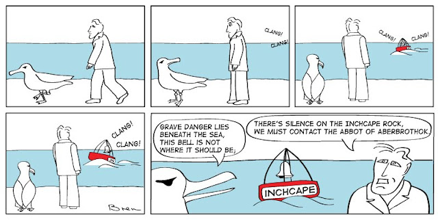 cartoon,gag,funny,cartoon strip,Humboldt,albatross,lighthouse,lighthouse keeper,sea,marine,bird,Inchcape rock,poem,buoy