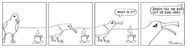 cartoon,gag cartoon,funny,cartoon strip,comic strip,Humboldt,albatross,lighthouse,lighthouse keeper,sea,marine,bird,green tea,earl grey tea