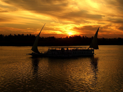 Twin masted Felucca at sunset