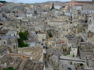 Looking down into Matera old town