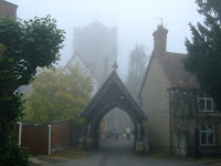 The church appears from the fog