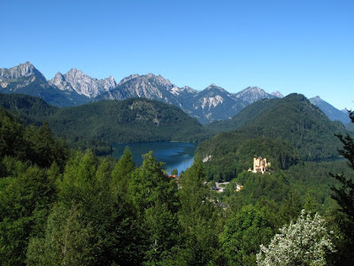 Looking down on Hohenschwangau Castle from near Neuschwanstein Castle