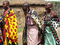 Masai women in colourful dress