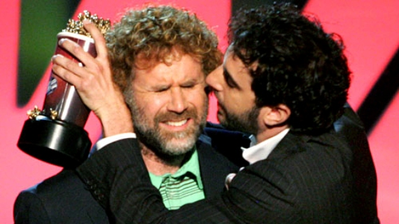 Will Ferrell & Sacha Baron Cohen kiss at the MTV Movie Awards