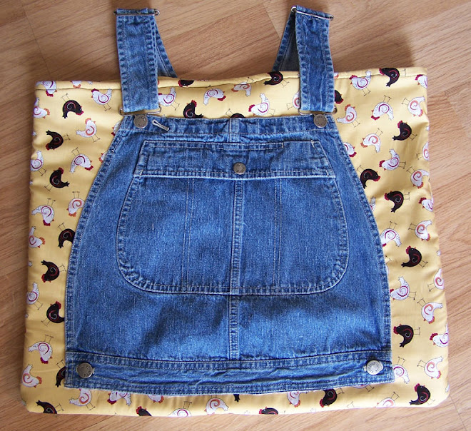 Rooster Lover Denim Bib Overall Jeans Tote Craft Bag